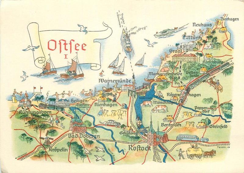 Germany Ostsee Map Rostock Hippostcard