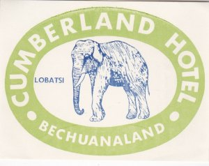 Bechuanaland Lobatsi Cumberland Hotel Green Elephant Luggage Label lbl0455