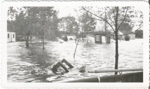 Flooded homes picture taken from boat Real Photograph Vintage Photograph