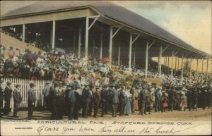 Stafford Springs CT Agricultural Fair Grandstand c1910 Hand Colored Postcard