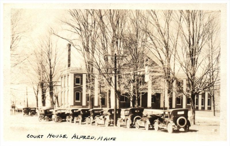 2859 ME Alfred Court House , Line of Parked Antique Autos RPC