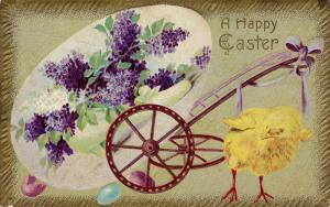 A Happy Easter, Chick and a broken wagon holding large egg, Violets, 00-10s