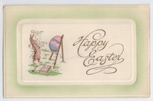 Vintage Easter Postcard Anthropomorphic Bunny Rabbit Painting Egg Smoking Pipe
