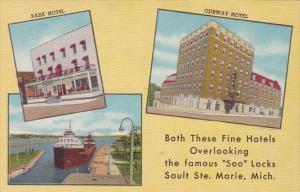 Michigan Sault Ste Marie Park Hotel & Ojibway Hotel Overlooking Soo Locks...