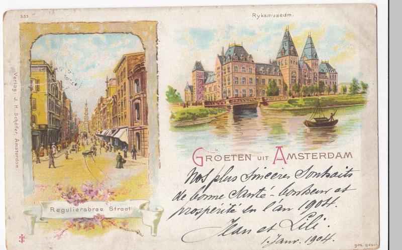 Netherlands; Groeten Uit Amsterdam UB PPC, 1903 PMK To Mr Doulcet, Paris, Faults
