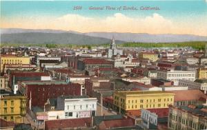 Eureka California~City Panorama: Humboldt Beer~Clothing Store~Rooftops~1908