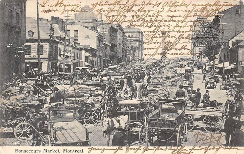 Canada, Montreal, Bonsecours Market, animated, commerce, Quebec 1906