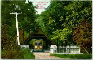 1910s MILWAUKEE, Wisconsin Postcard Soldier's Home Streetcar Station Trolley