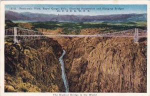 Colorado Royal Gorge Panoramic View Showing Suspension And Hanging Bridges