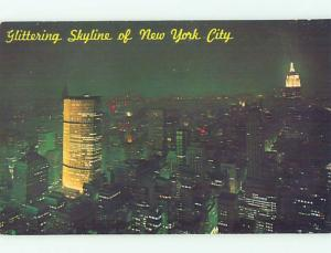 Unused Pre-1980 GREAT VIEW OF PAN AM BUILDING AT NIGHT New York City NY hp3673