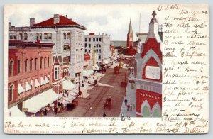 La Crosse Wisconsin~Main Street~Shopping~Bank Building~Church in Distance~1907