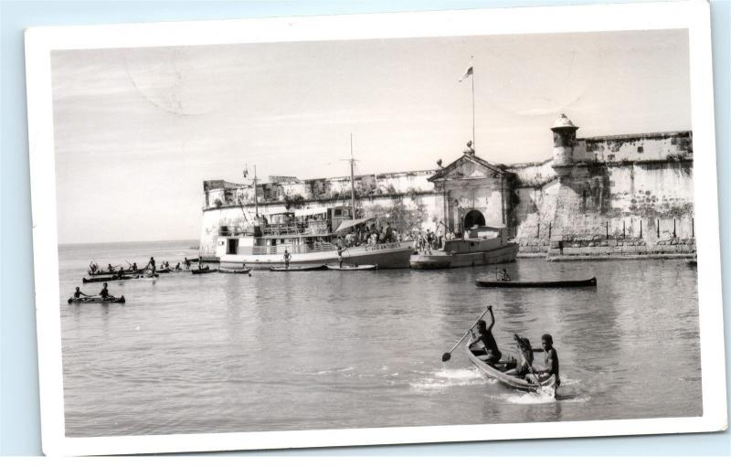 Kids in Canoes Boat Ship Cartagena Columbia RPPC Vintage Real Photo Postcard C77