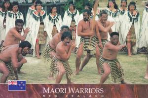 Maori Warriors, tribal costume and dance, Whakarewarewa, Rotorua, New Zealand...