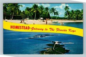 Homestead Bayfront Park FL, Banner Greetings, Chrome Florida Postcard