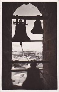 RP; Looking through bells and arch over Jerusalem, Israel, PU