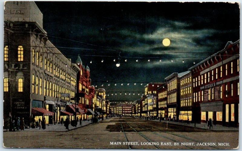Jackson, Michigan Postcard MAIN STREET, Looking East by Night 1917 Cancel