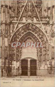 Postcard Old Troyes Cathedral The Grand Portal