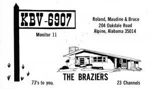 Alpine AL The Brazier Family: Roland, Maudine & Bruce QSL Postcard 1960s