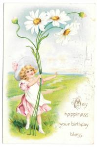 Tuck Fantasy Birthday Postcard Girl with Giant Daisies