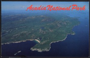 ME Aerial View of ACADIA NATIONAL PARK on Mount Desert Island Chrome 1950s-1970s