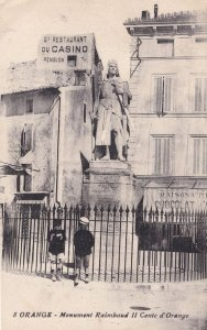 Casino Hotel Advertising Board by Statue Comte D'Orange French Postcard