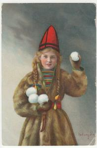 Children; Girl In Fur Coat & Hat With Snowballs PPC By Mittet & Co, Unused, 1907