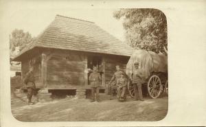 poland, WASYLKOWZE WASILKOW, Farm House, Soldiers (1917) RPPC 1