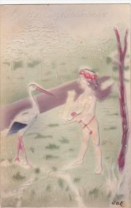Stork With Cupid Reading Letter