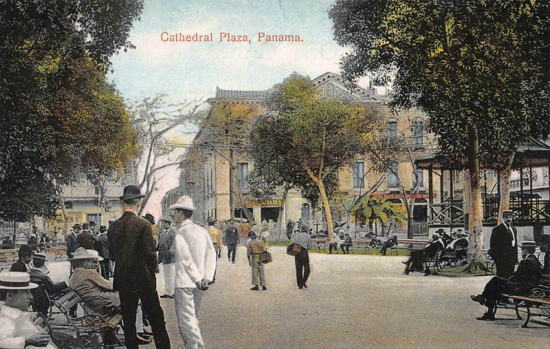 Cathedral Plaza, Panama, Early Postcard, Unused