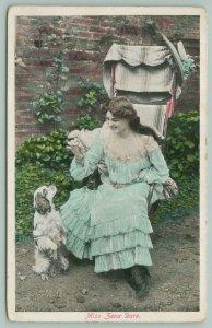Miss Zena Dare Dog Training~English Actress~Spaniel Begs for Treat~1907 Postcard