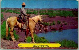 Greetings from HARDIN Montana Postcard Cowboy / Horse REMBRANT c1950s Chrome