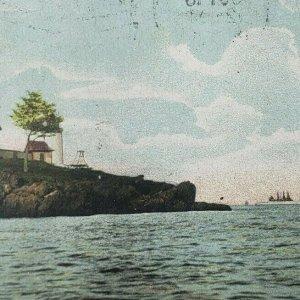 Camden Maine Negro Island Light Lighthouse Warships War Ship Boat Postcard C19