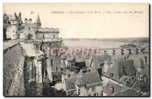 Old Postcard Amboise Chateau And The Bridge