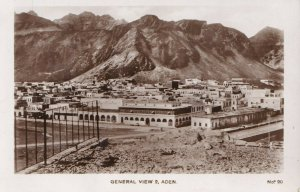 Early 1940s Real Photo Postcard RPPC Aden, Yemen General View Aerial