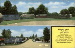 East Hartford CT Aircraft Trailer Park Inc linen Postcard