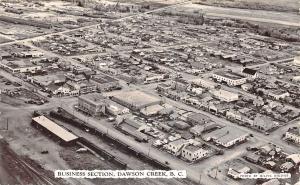 Dawson Creek B. C. Canada Aerial View Business Section Real Photo Postcard