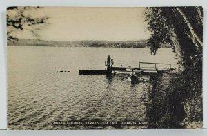 Maine Lakeside Cottages Damariscotta Lake Showing Boat Pier Scene Postcard P19