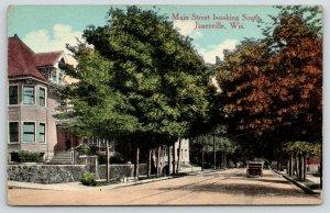 Janesville Wisconsin~Main Street Homes~Stone Retaining Wall~House on Corner~1908