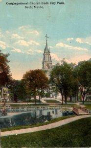 Maine Bath Congregational Church From City Park 1917 Curteich