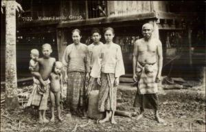 Malaysia Malay Family Group c1920s Real Photo Postcard dcn