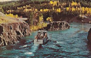 Whitehorse Rapids with excursion boat Schwatka, Yukon,  Canada,  40-60s