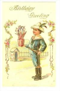 Birthday Greeting, Boy brings tulip flowers, 00-10s