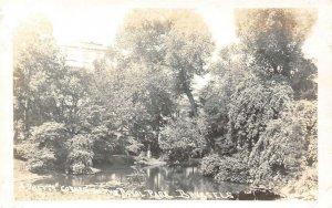 RPPC Pretty Corner Royal Park, Brussels Belgium Pond ca 1910s Vintage Postcard