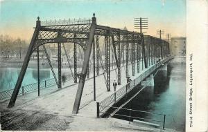 Logansport Indiana~Third Street Bridge~Men Walk Pedestrian Side~1910 Postcard