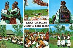 Tara Oasului Romania Folklore Costumes 6 Views Postcard