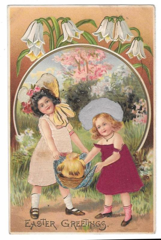 Easter Greetings Children Girls Silk Added Dresses Postcard