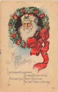 F57/ Santa Claus Merry Christmas Holiday Postcard c1910 Wreath Bow 7
