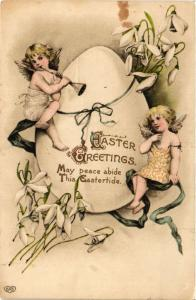CPA Angels with a Huge Egg and a Trumpet – Easter ANGELS (777511)