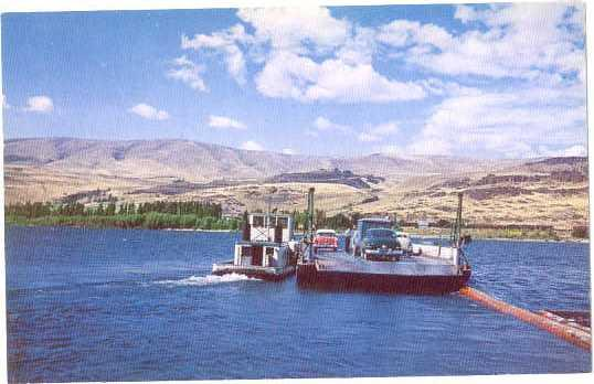 Maryhill Ferry Crossing Columbia River from Oregon, OR, to Washington, WA,Chrome
