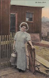 The Dairy Maid wearing long blue gown, bonnet, PU-1911